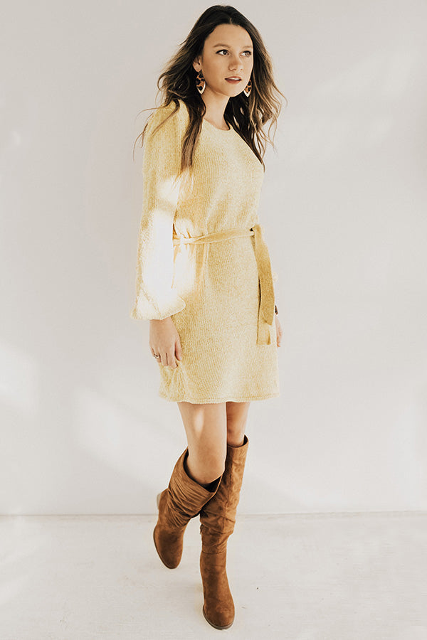 Keeping Cozy Chenille Sweater Dress in Marigold