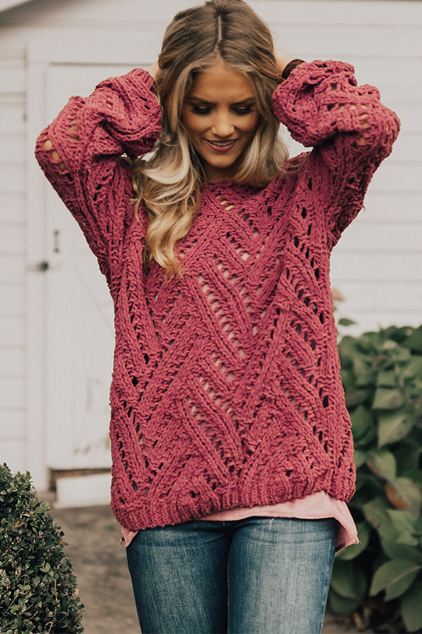 Season Of Style Tunic Sweater in Rose