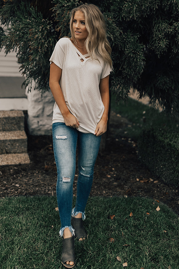 Criss Cross Crushing Shift Tee in Cream