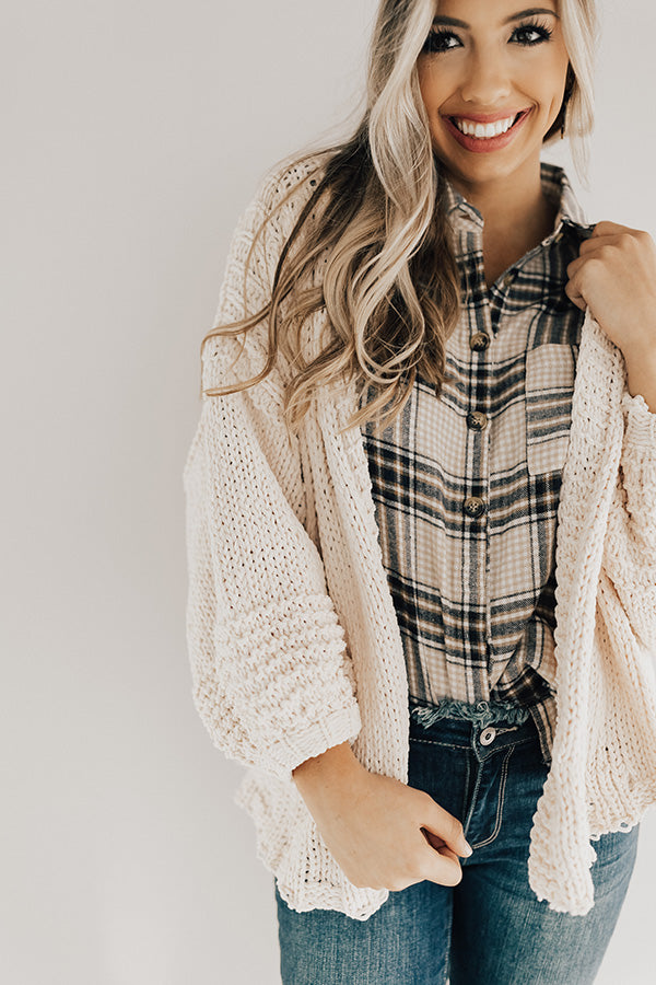 Can't Stop The Cuddles Knit Cardigan In Cream