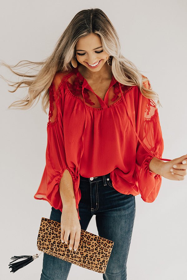 All Day Chic Lace Top In Red