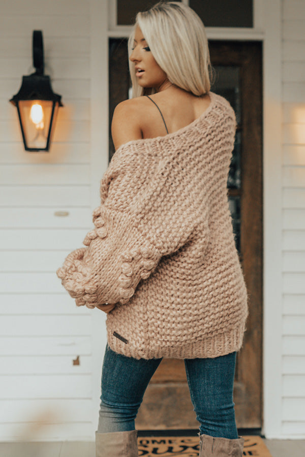 Sugar And Cinnamon Hand-Knit Cardigan In Blush