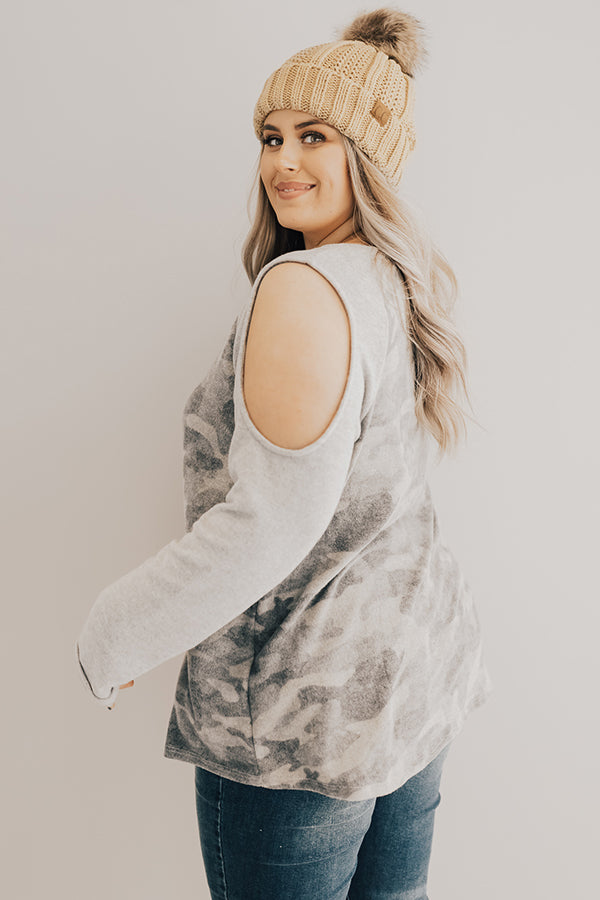 Keepin' It Camo Cold Shoulder Top