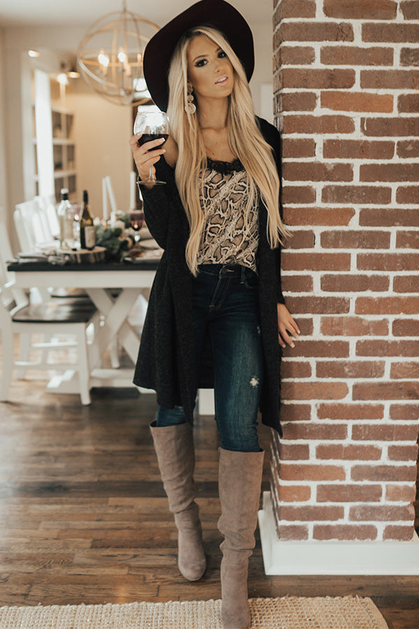 She's Fashionably Late Cardigan In Black