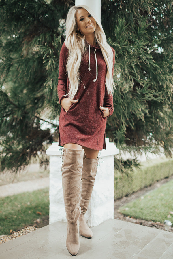 Sweater Weather Tunic Dress in Maroon