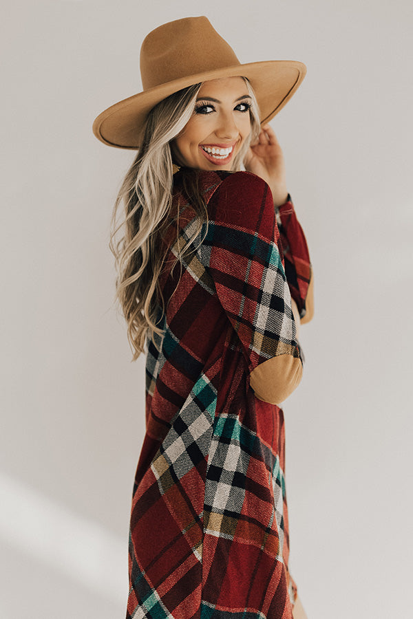 Hey Sugar Plum Plaid Sweater Dress in Wine