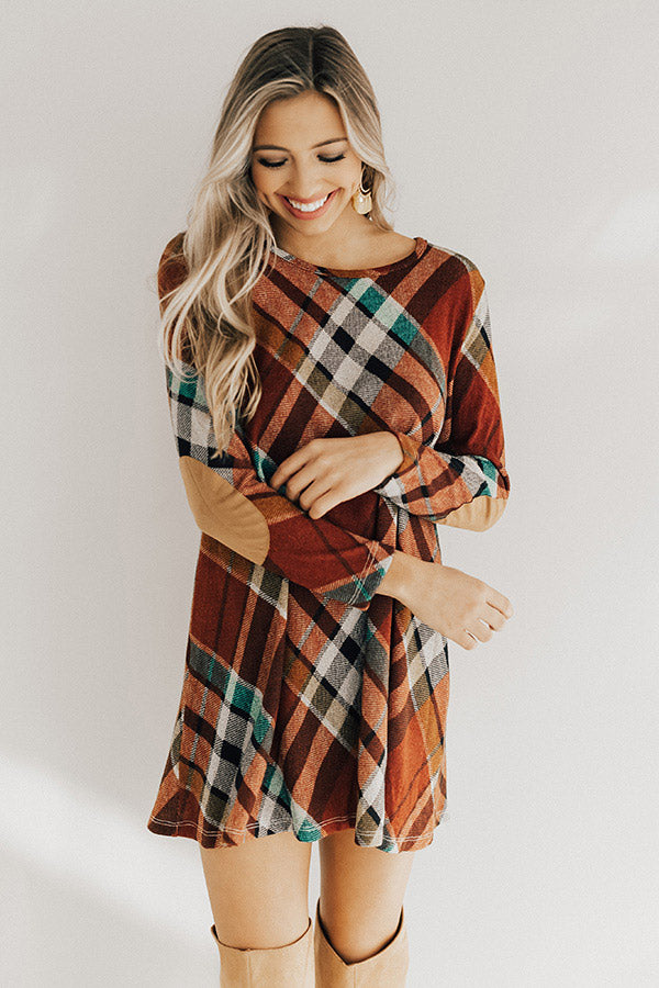 Hey Sugar Plum Plaid Sweater Dress in Rust