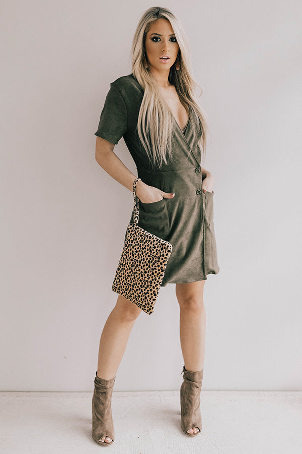 That VIP Life Faux Suede Dress in Olive