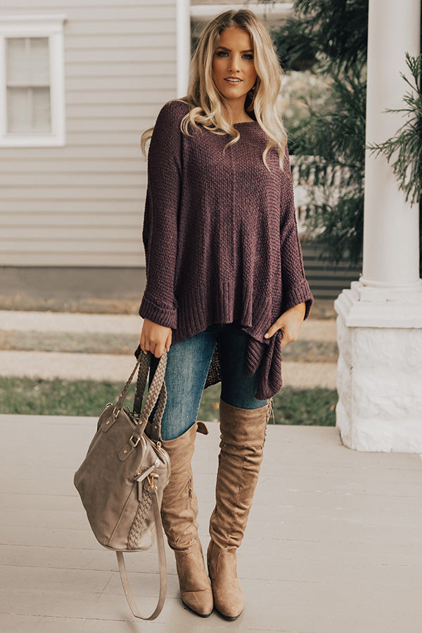 Keeping Knit Casual Shift Sweater in Ultra Violet