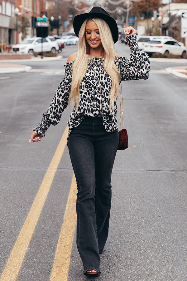 Girls Night Out Leopard Top in Grey