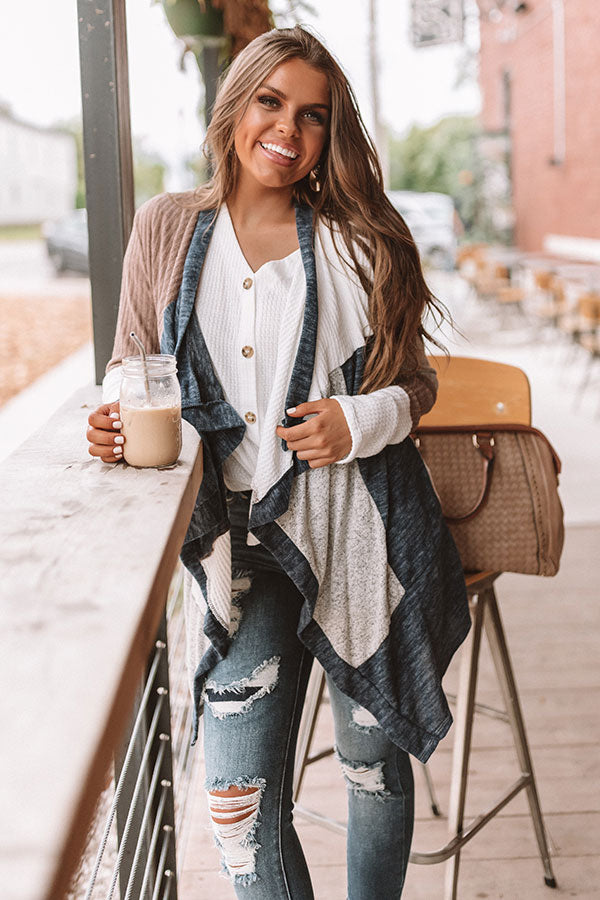 Lattes In Lake Tahoe Color Block Cardigan