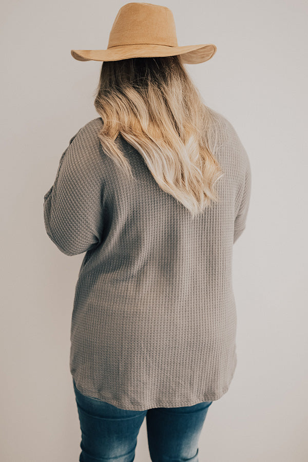Call It Fall Embroidered Waffle Knit Top In Dark Grey