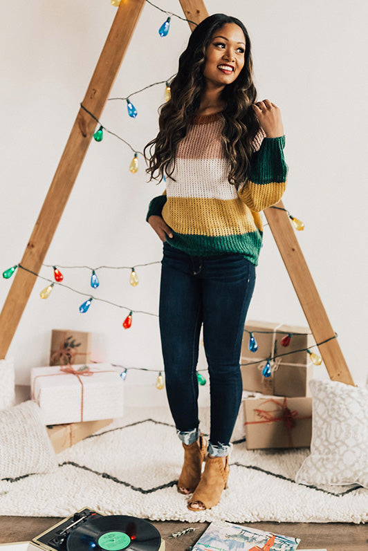 Always On Mountain Time Stripe Knit Sweater