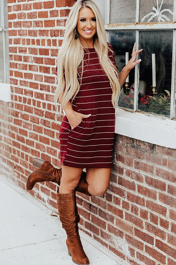 Lined Up Stripe T-Shirt Dress In Wine