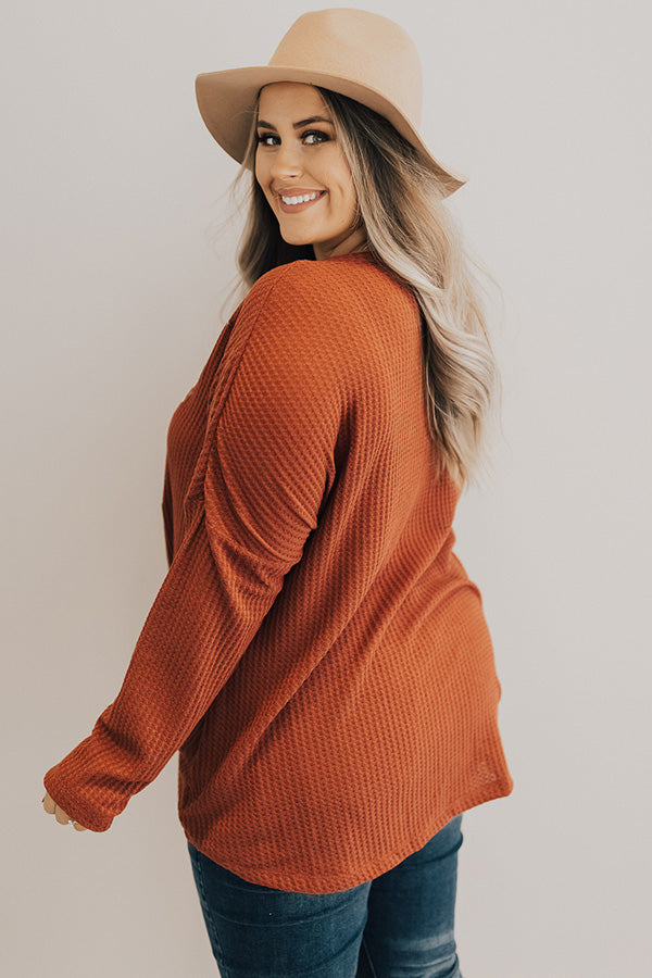 Call It Fall Embroidered Waffle Knit Top In Rust
