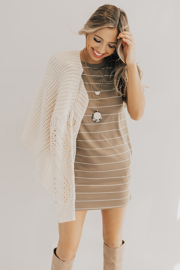 Lined Up Stripe T-Shirt Dress In Martini Olive
