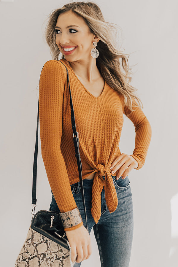 Perfect Match Waffle Knit Tie Top
