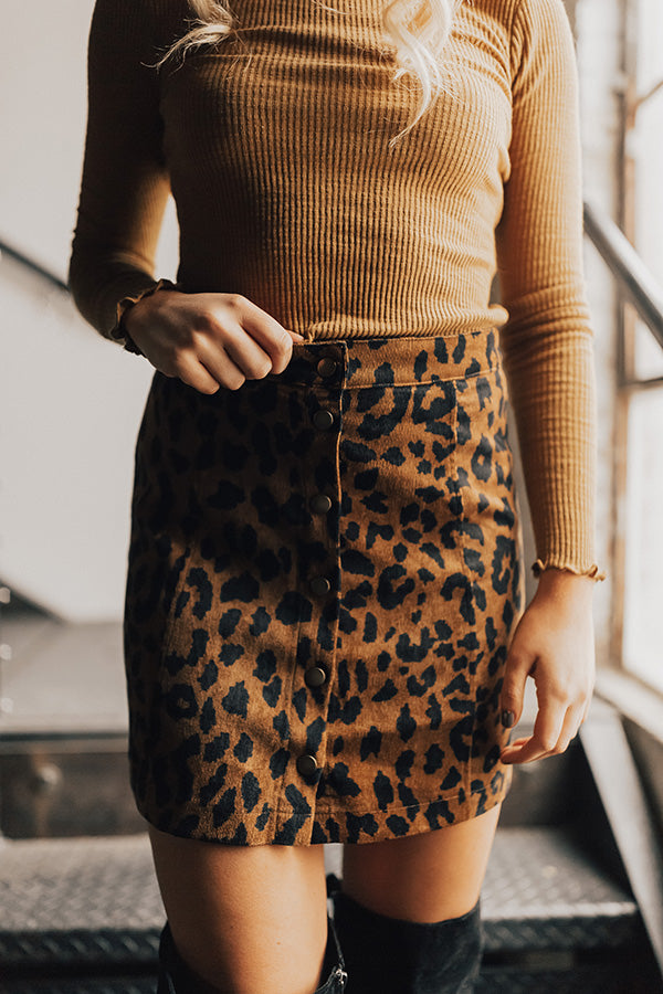 VIP Party Leopard Button Down Skirt