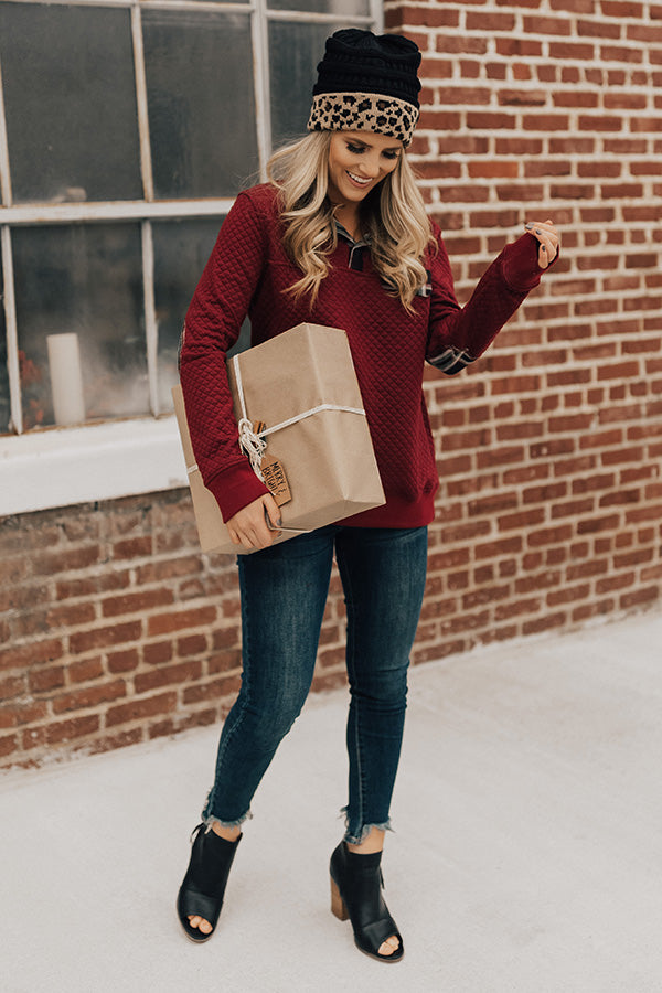 Keep It Cool Quilted Shift Sweater in Wine