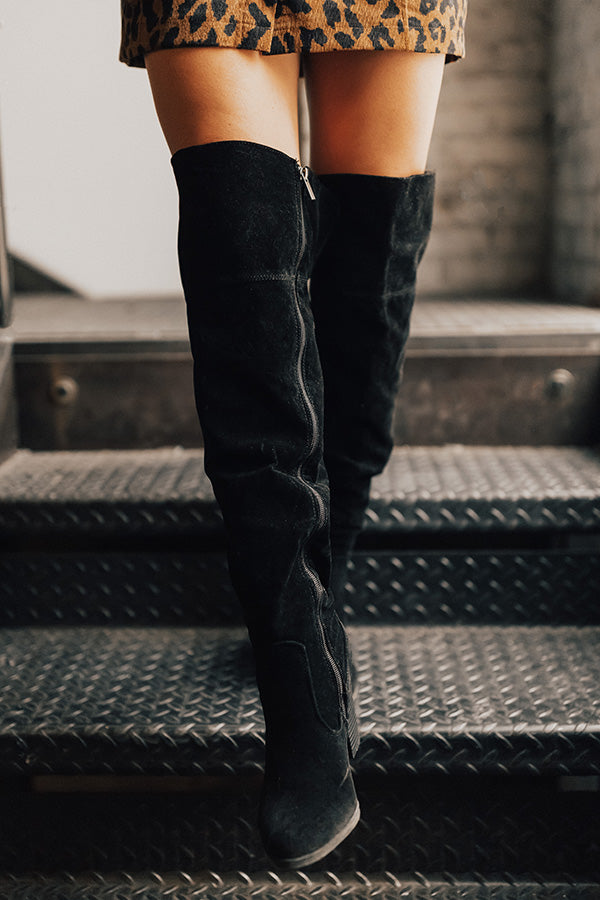 The Lakelynn Faux Suede Thigh High Boot In Black