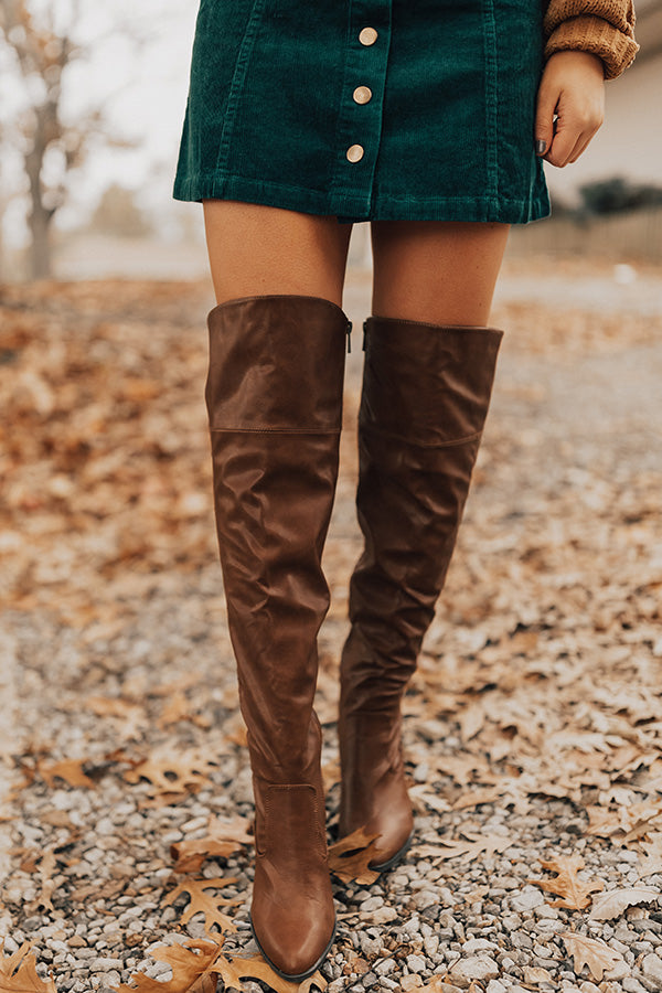 The Lakelynn Faux Leather Thigh High Boot In Brown