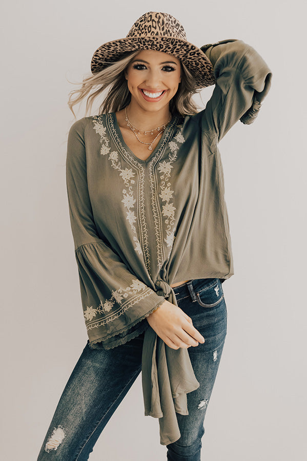 Leap Of Faith Embroidered Top in Sage