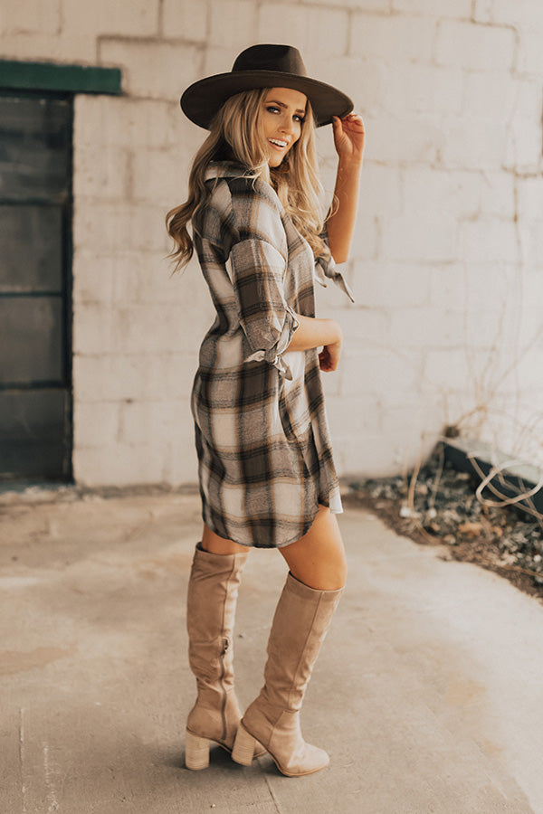 Chic And Stylish Plaid Shift Dress in Martini Olive