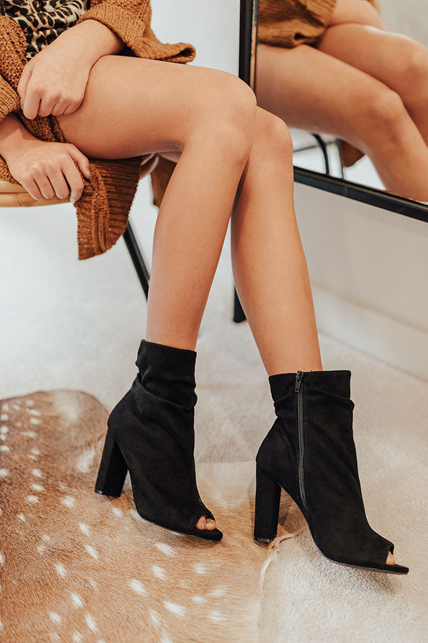 The Maude Faux Suede Peep Toe Bootie In Black