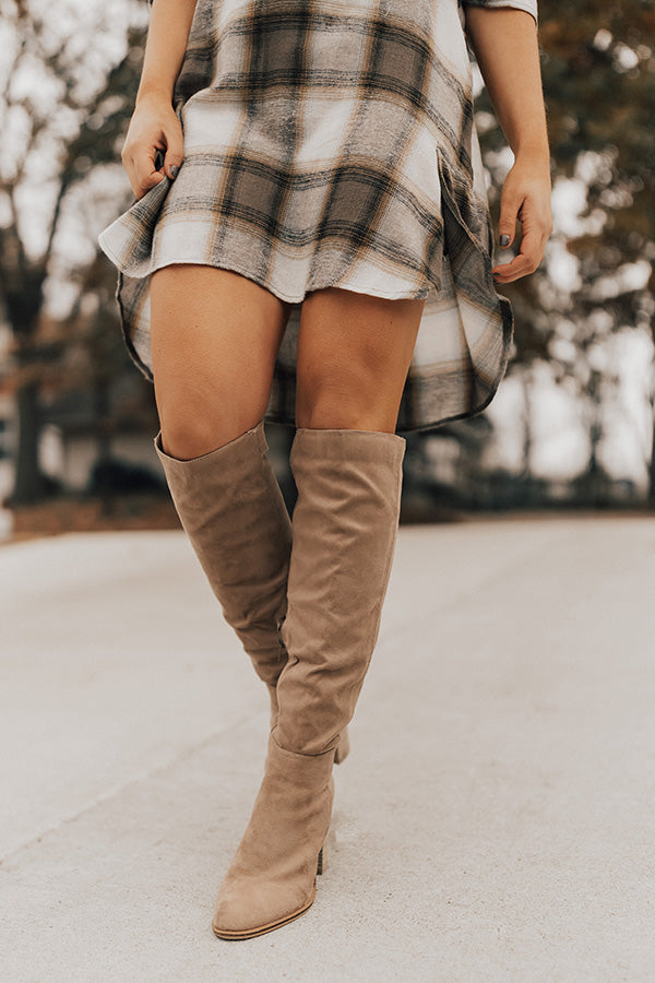 The Lynn Knee High Boot In Warm Taupe