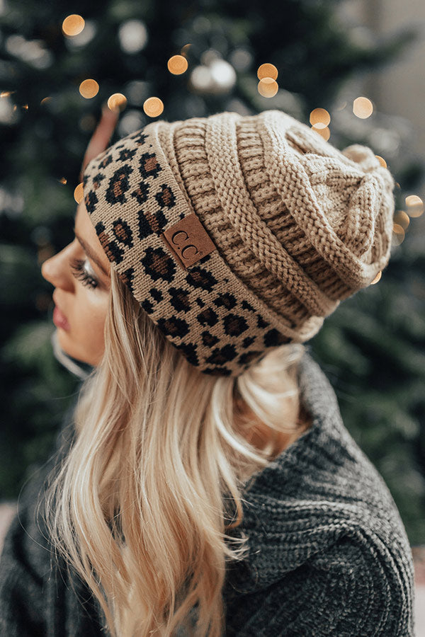 Spotted In The City Leopard Beanie In Iced Latte