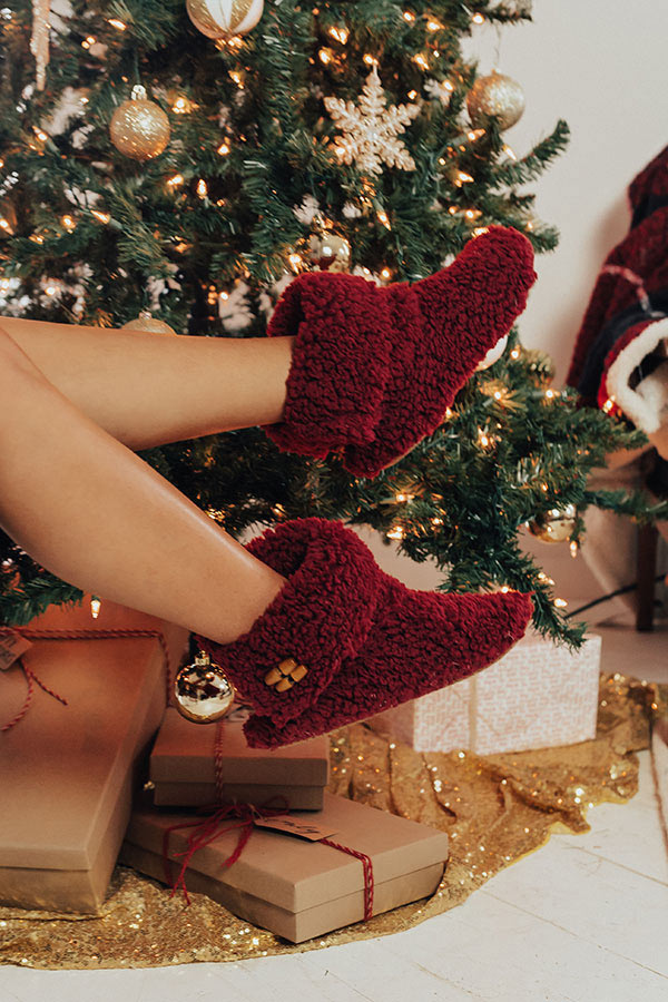 Holly Jolly Fuzzy Slippers In Wine