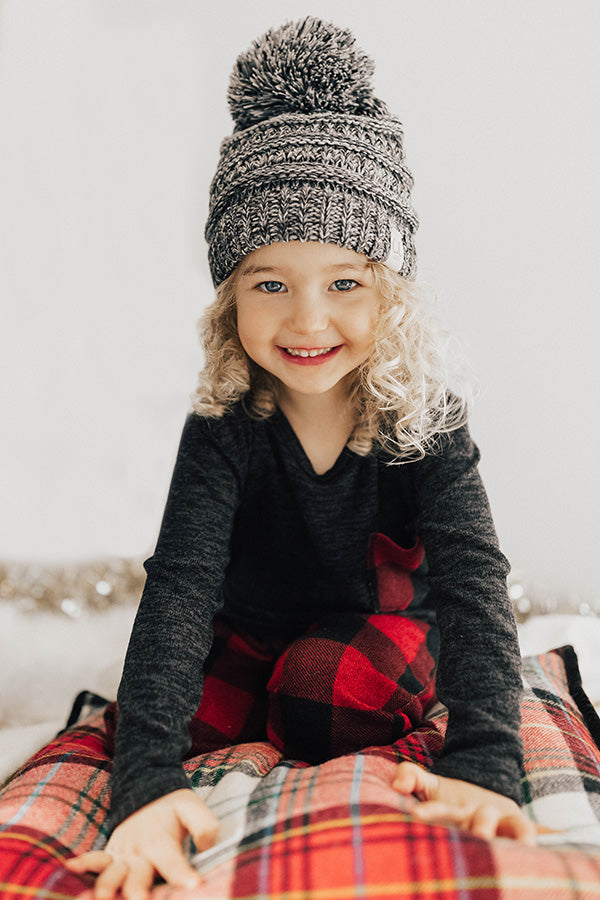 Children's CC Two Tone Beanie In Grey