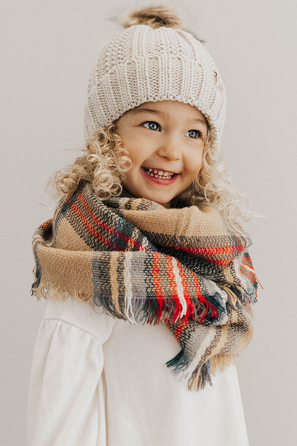 Children's CC Faux Fur Pom Beanie In Stone