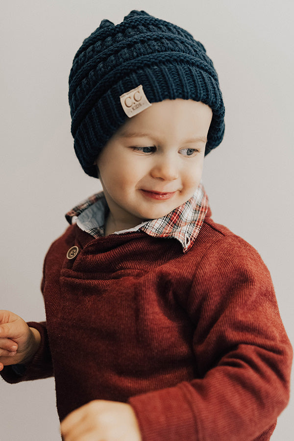 Children's CC Beanie In Cobalt