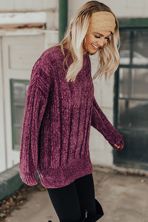 Cozy On My Mind Chenille Tunic Sweater in Purple