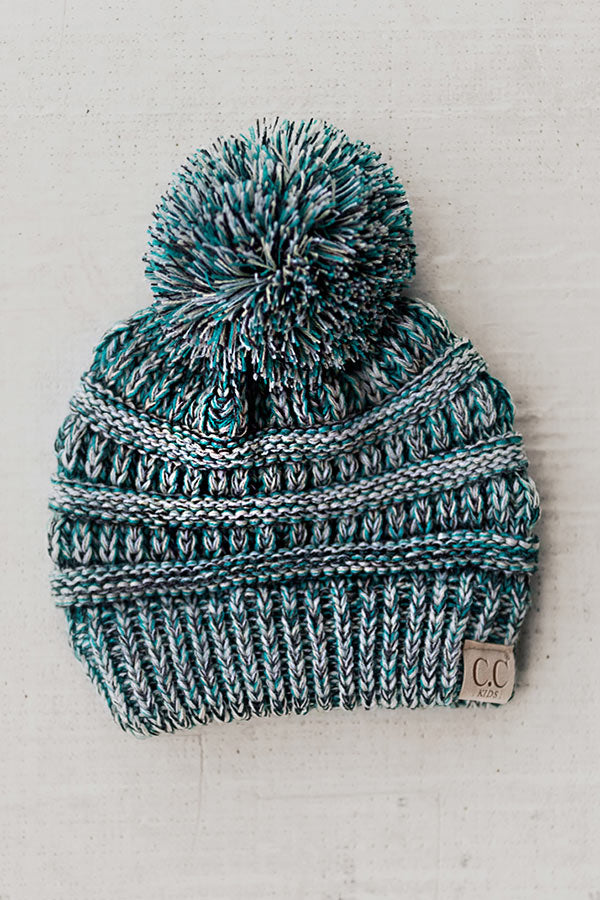 Children's CC Two Tone Beanie In Turquoise