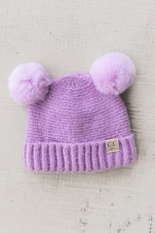 Children's CC Pom-Pom Beanie In Lavender