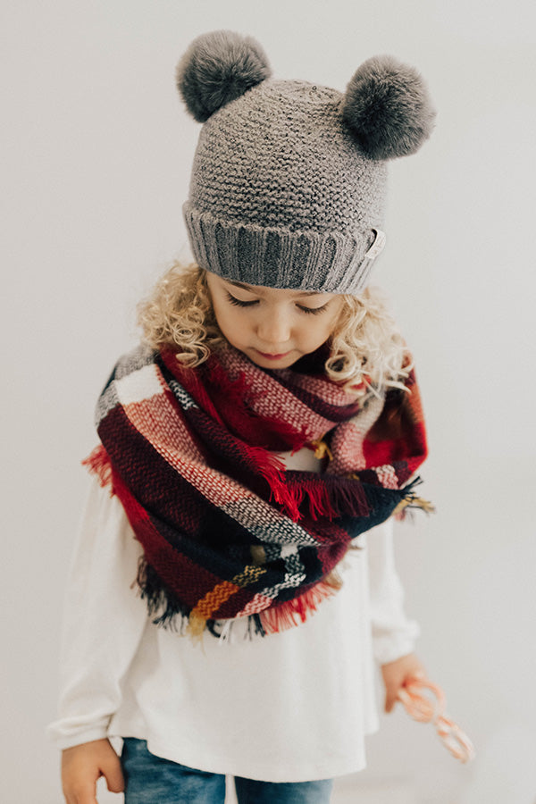 Children's CC Pom-Pom Beanie In Dark Grey