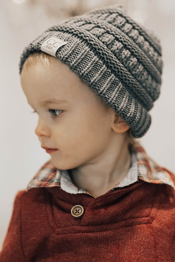 Children's CC Beanie In Grey