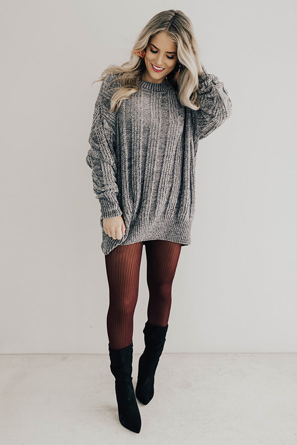 Cozy On My Mind Chenille Tunic Sweater in Grey