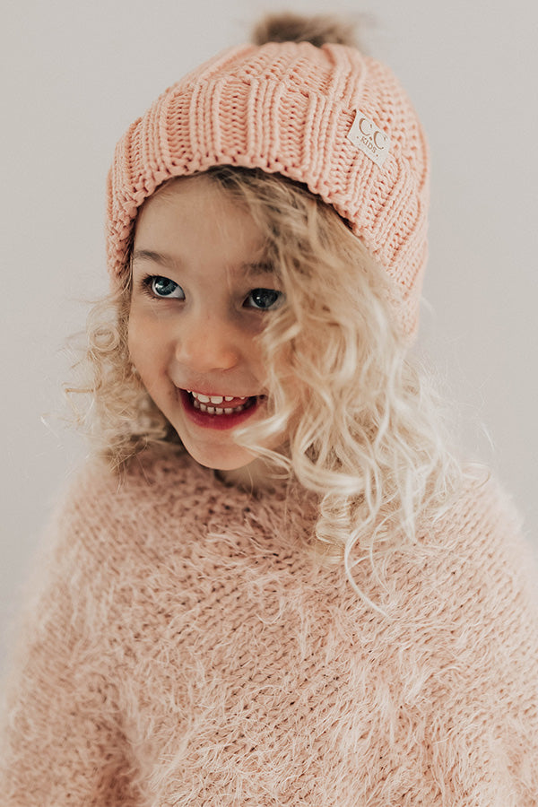 Children's CC Faux Fur Pom Beanie In Light Pink