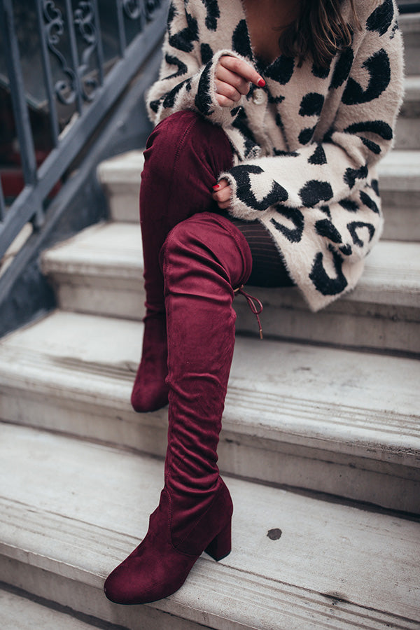 The Whitley Faux Suede Thigh High Boot In Windsor Wine