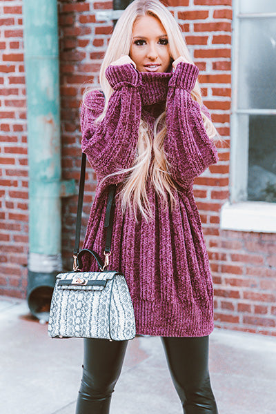 Snowflakes In The City Chenille Tunic Sweater in Purple