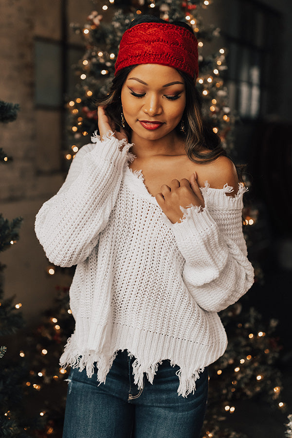 Winter Wishes Knit Sweater in Optic White