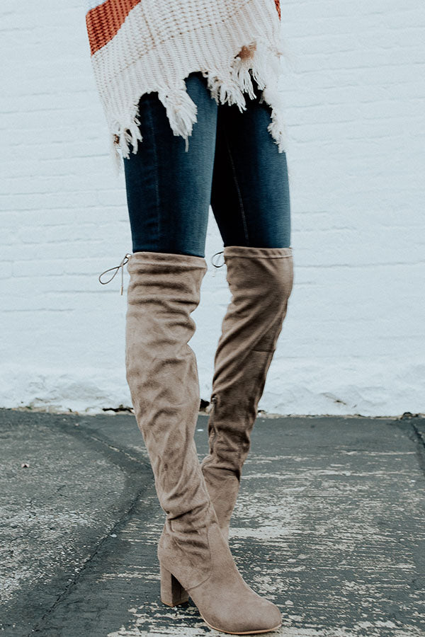 The Whitley Faux Suede Thigh High Boot In Taupe
