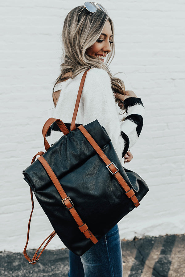 The Libby Faux Leather Backpack In Black