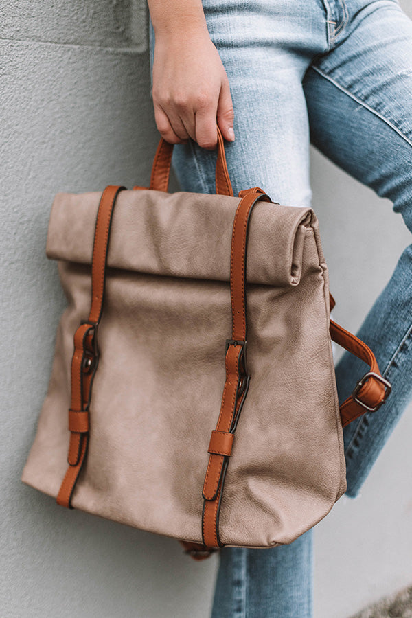 The Libby Faux Leather Backpack In Warm Taupe