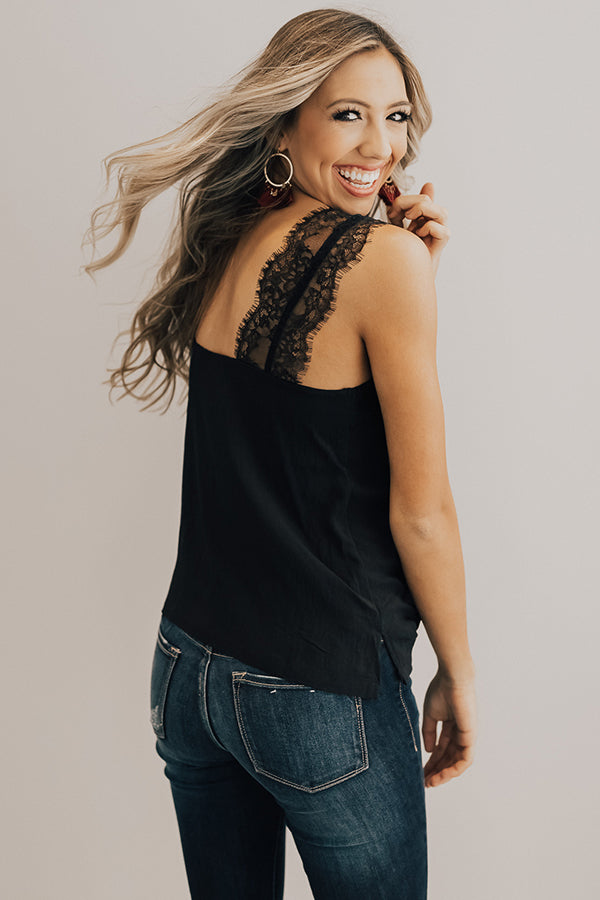 Weekend Luxe Lace Shift Tank in Black