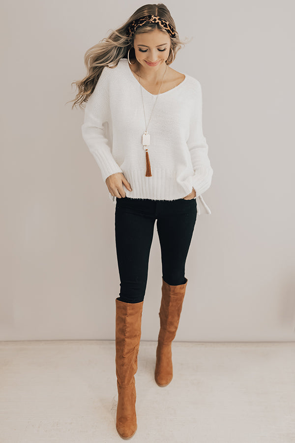 Stay Warm Shift Sweater In Ivory