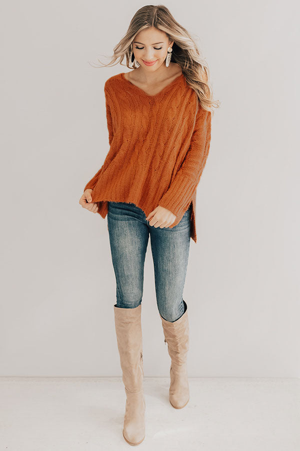 Chilly Nights Shift Sweater in Rust